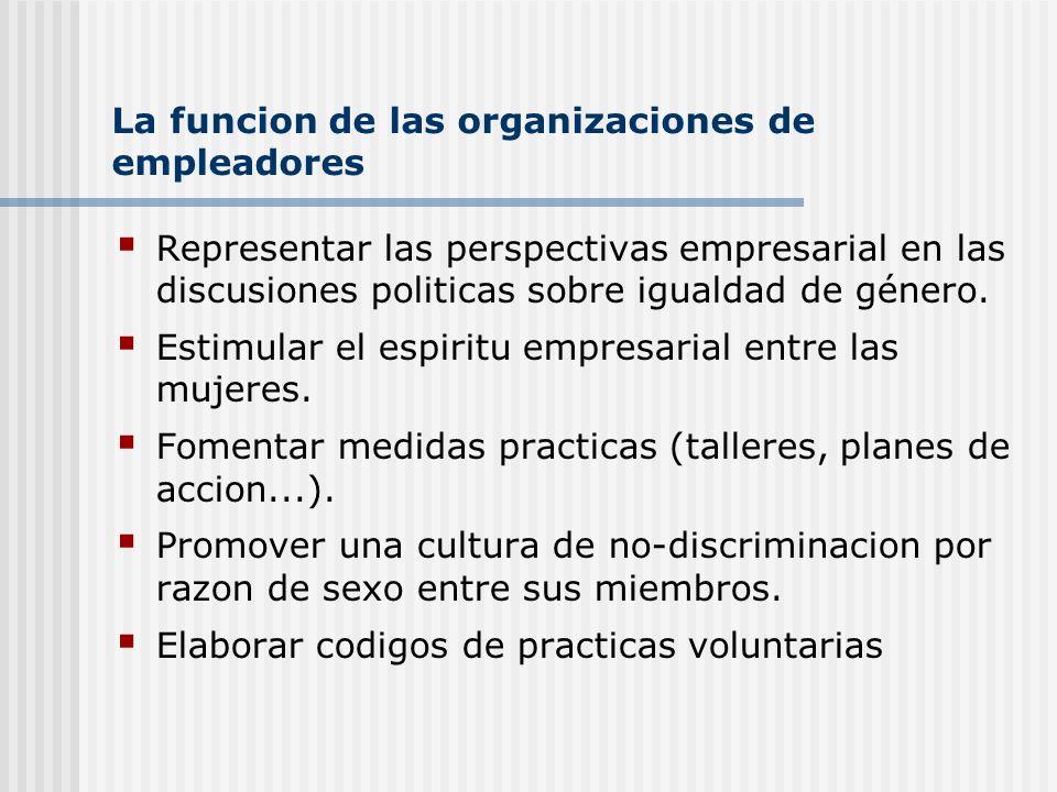 La funcion de las organizaciones de empleadores Representar las perspectivas empresarial en las discusiones politicas sobre igualdad de género. Estimu