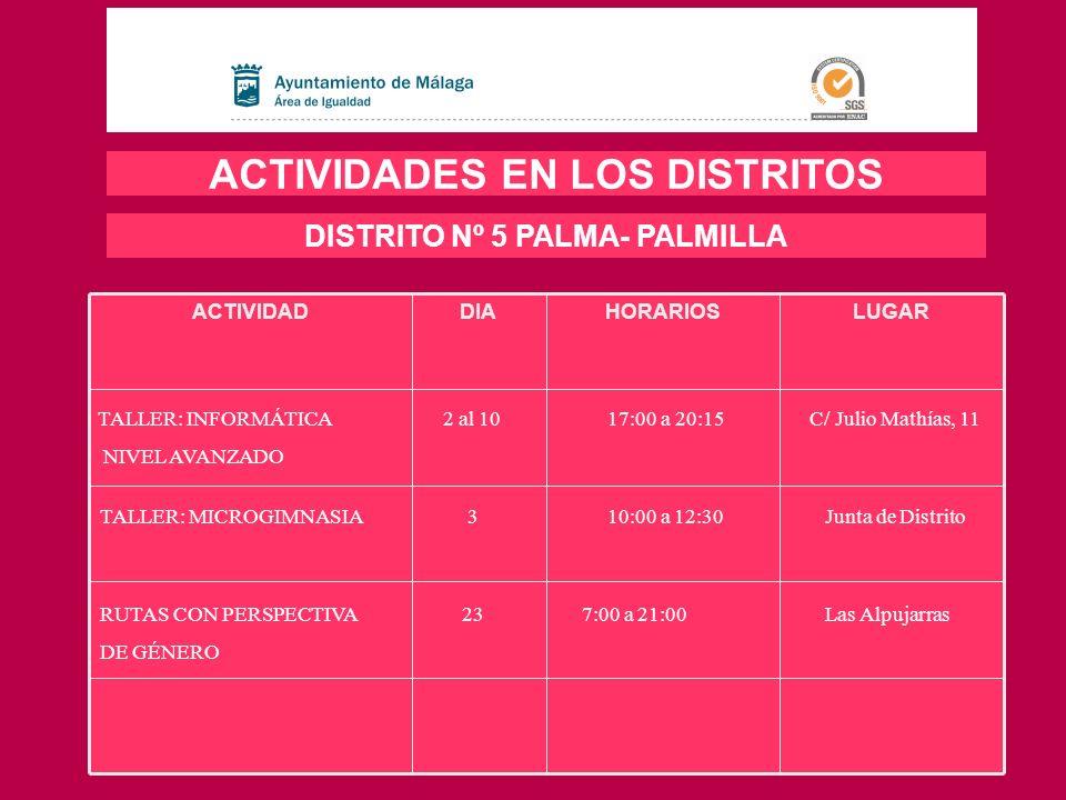 LUGARHORARIOSDIAACTIVIDAD ACTIVIDADES EN LOS DISTRITOS DISTRITO Nº 5 PALMA- PALMILLA TALLER: INFORMÁTICA 2 al 10 17:00 a 20:15 C/ Julio Mathías, 11 NI