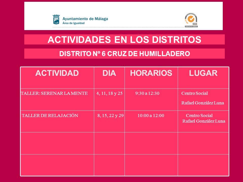 LUGARHORARIOSDIAACTIVIDAD ACTIVIDADES EN LOS DISTRITOS DISTRITO Nº 6 CRUZ DE HUMILLADERO TALLER: SERENAR LA MENTE 4, 11, 18 y 25 9:30 a 12:30 Centro S