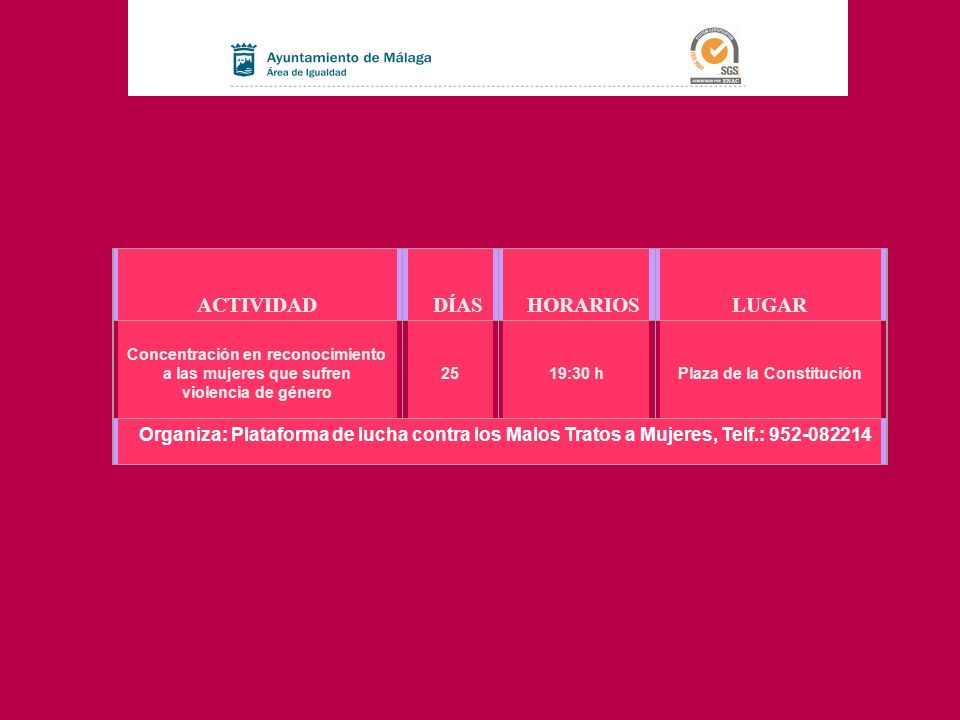 ACTIVIDAD DÍAS HORARIOS LUGAR Concentración en reconocimiento a las mujeres que sufren violencia de género 25 19:30 h Plaza de la Constitución Organiz
