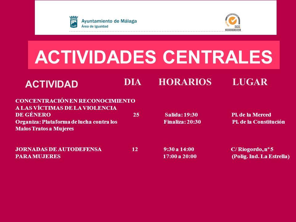 LUGARHORARIOSDIAACTIVIDAD ACTIVIDADES EN LOS DISTRITOS DISTRITO Nº 7 CARRETERA DE CÁDIZ TALLER: CORPÓREAMENTE 9, 16 y 30 10:00 a 12:30 Junta de Distrito RUTAS CON PERSPECTIVA DE GÉNERO 23 8:00 a 21:00 Las Alpujarras (Granada)