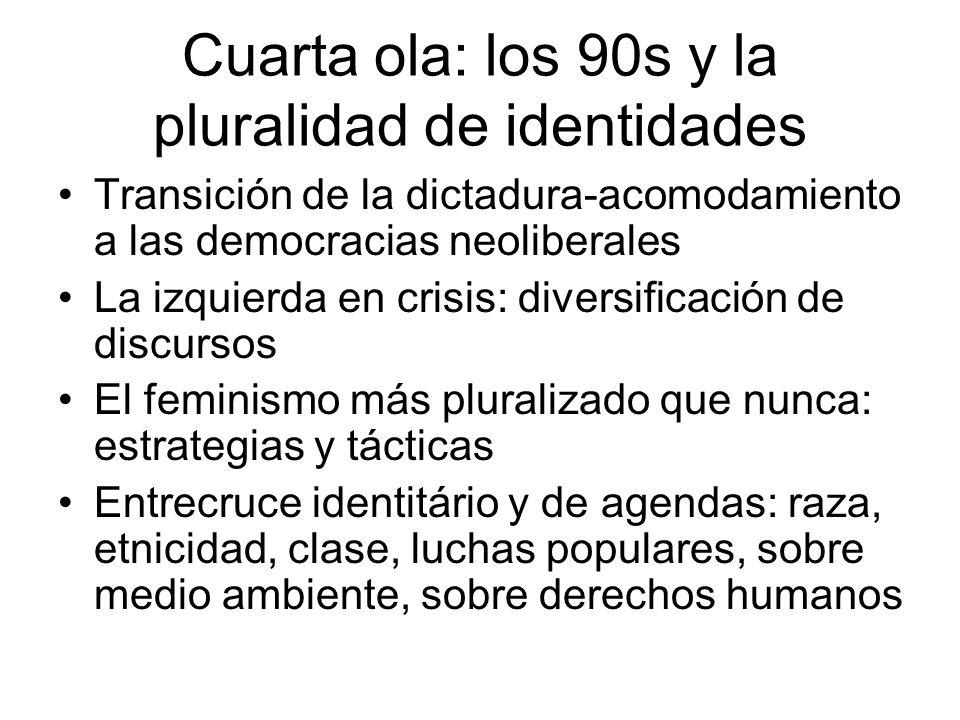 Cuarta ola: los 90s y la pluralidad de identidades Transición de la dictadura-acomodamiento a las democracias neoliberales La izquierda en crisis: div
