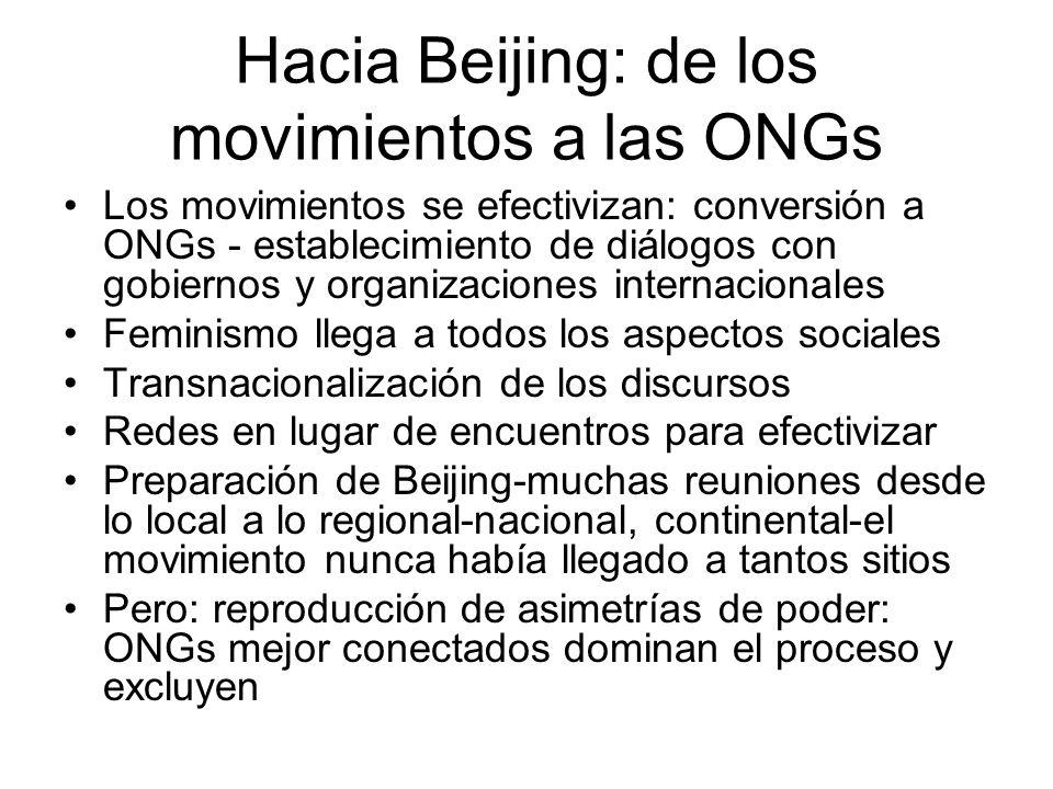Hacia Beijing: de los movimientos a las ONGs Los movimientos se efectivizan: conversión a ONGs - establecimiento de diálogos con gobiernos y organizac