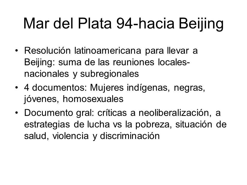 Mar del Plata 94-hacia Beijing Resolución latinoamericana para llevar a Beijing: suma de las reuniones locales- nacionales y subregionales 4 documento