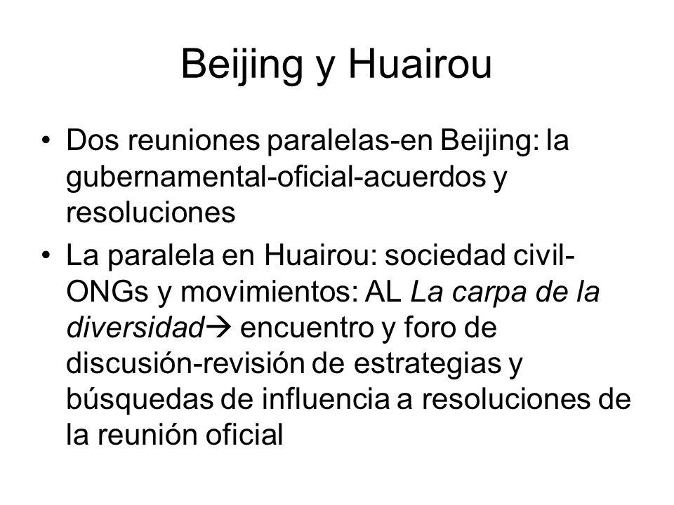 Beijing y Huairou Dos reuniones paralelas-en Beijing: la gubernamental-oficial-acuerdos y resoluciones La paralela en Huairou: sociedad civil- ONGs y