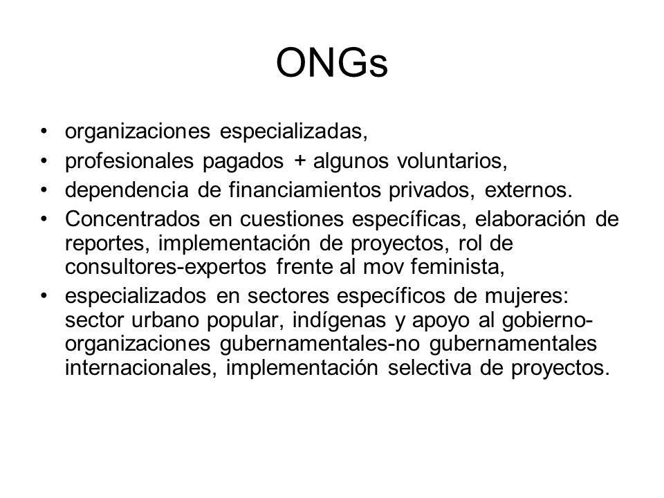 ONGs organizaciones especializadas, profesionales pagados + algunos voluntarios, dependencia de financiamientos privados, externos. Concentrados en cu