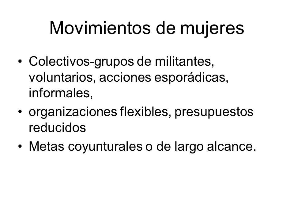 Movimientos de mujeres Colectivos-grupos de militantes, voluntarios, acciones esporádicas, informales, organizaciones flexibles, presupuestos reducido