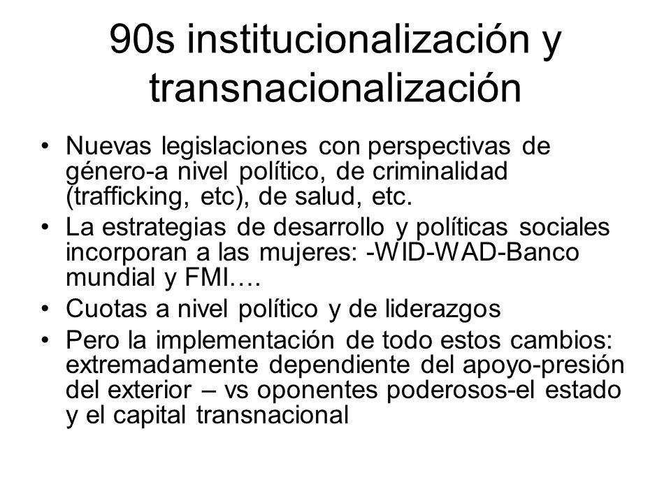 90s institucionalización y transnacionalización Nuevas legislaciones con perspectivas de género-a nivel político, de criminalidad (trafficking, etc),