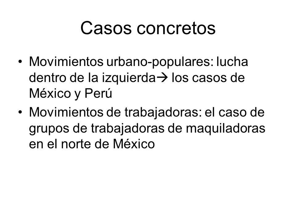 Casos concretos Movimientos urbano-populares: lucha dentro de la izquierda los casos de México y Perú Movimientos de trabajadoras: el caso de grupos d