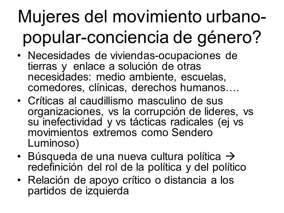 Mujeres del movimiento urbano- popular-conciencia de género? Necesidades de viviendas-ocupaciones de tierras y enlace a solución de otras necesidades:
