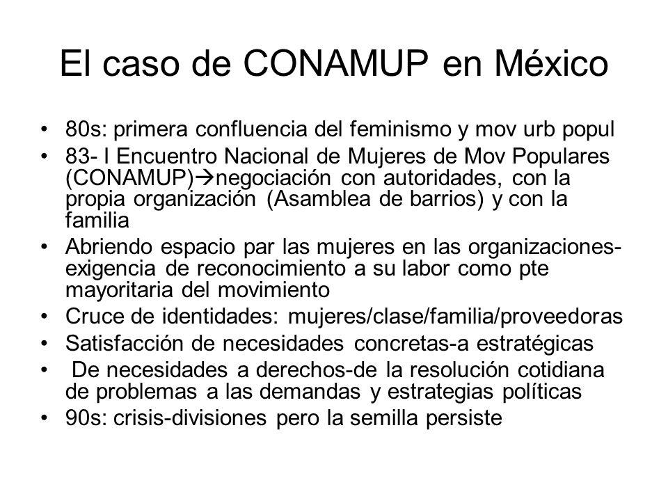 El caso de CONAMUP en México 80s: primera confluencia del feminismo y mov urb popul 83- I Encuentro Nacional de Mujeres de Mov Populares (CONAMUP) neg