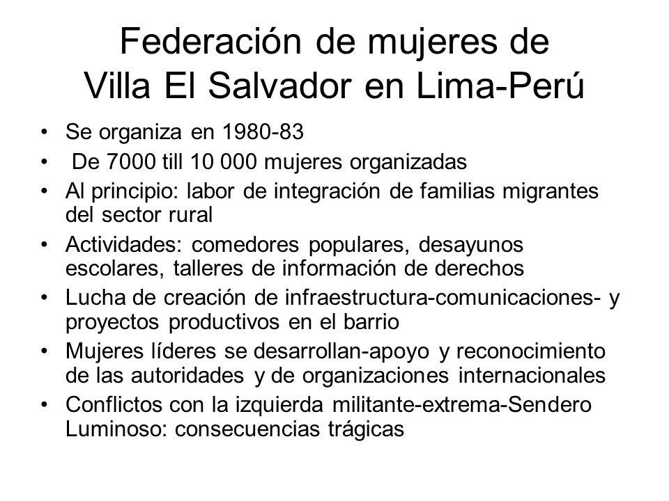 Se organiza en 1980-83 De 7000 till 10 000 mujeres organizadas Al principio: labor de integración de familias migrantes del sector rural Actividades: