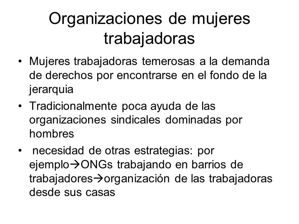 Organizaciones de mujeres trabajadoras Mujeres trabajadoras temerosas a la demanda de derechos por encontrarse en el fondo de la jerarquia Tradicional