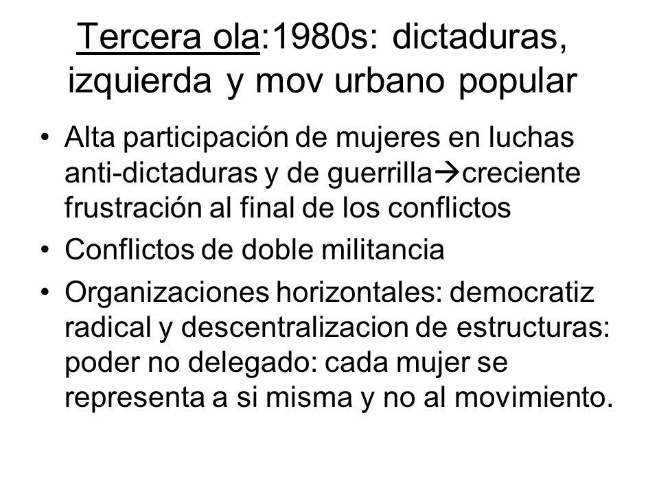 - Tercera ola:1980s: dictaduras, izquierda y mov urbano popular Alta participación de mujeres en luchas anti-dictaduras y de guerrilla creciente frust