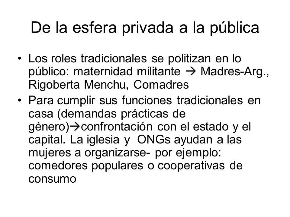 De la esfera privada a la pública Los roles tradicionales se politizan en lo público: maternidad militante Madres-Arg., Rigoberta Menchu, Comadres Par