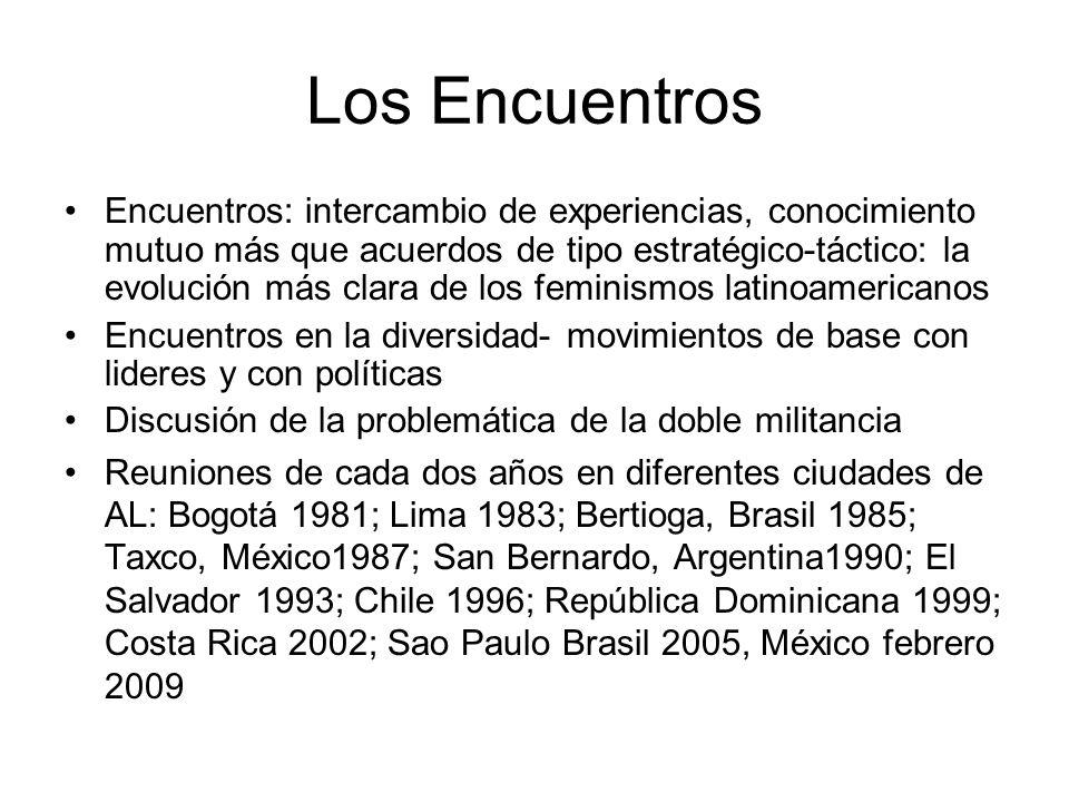 Temas de los Ecuentros-1 1.La relación del feminismo con los diversos movimientos sociales; 2.