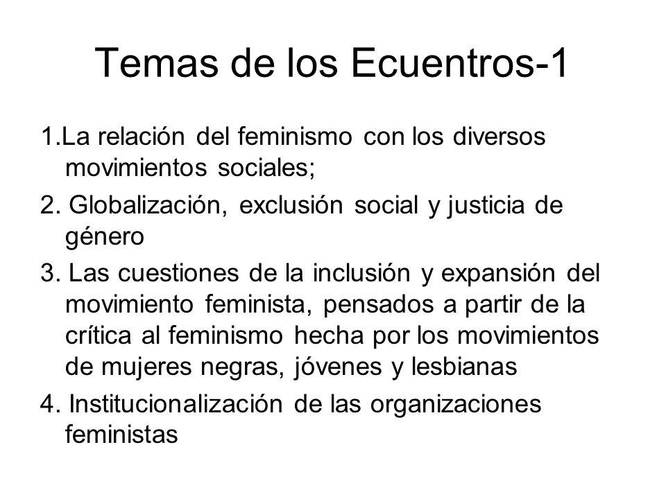 Temas de los Ecuentros-1 1.La relación del feminismo con los diversos movimientos sociales; 2. Globalización, exclusión social y justicia de género 3.