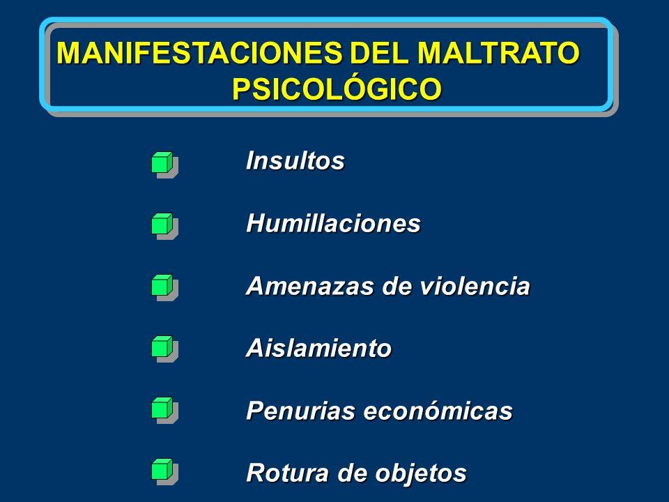 MANIFESTACIONES DEL MALTRATO PSICOLÓGICO PSICOLÓGICO InsultosHumillaciones Amenazas de violencia Aislamiento Penurias económicas Rotura de objetos