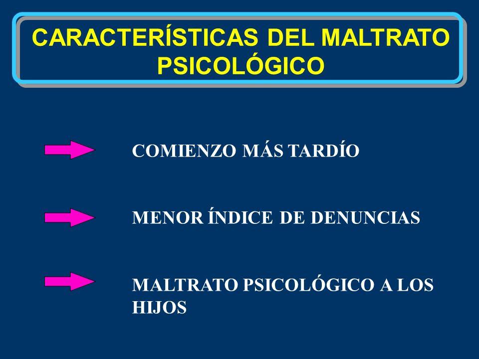 CARACTERÍSTICAS DEL MALTRATO PSICOLÓGICO COMIENZO MÁS TARDÍO MENOR ÍNDICE DE DENUNCIAS MALTRATO PSICOLÓGICO A LOS HIJOS