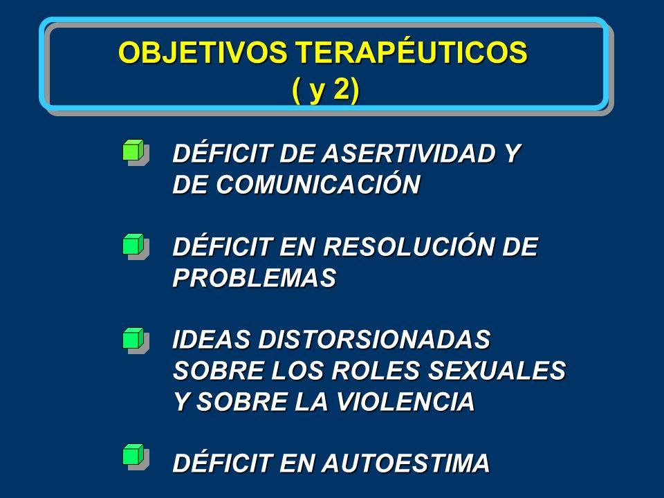 OBJETIVOS TERAPÉUTICOS ( y 2) DÉFICIT DE ASERTIVIDAD Y DE COMUNICACIÓN DÉFICIT EN RESOLUCIÓN DE PROBLEMAS IDEAS DISTORSIONADAS SOBRE LOS ROLES SEXUALE
