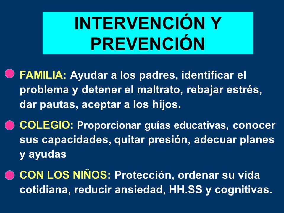 INTERVENCIÓN Y PREVENCIÓN FAMILIA: Ayudar a los padres, identificar el problema y detener el maltrato, rebajar estrés, dar pautas, aceptar a los hijos