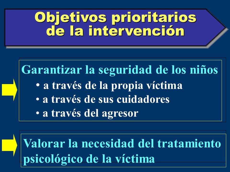 Objetivos prioritarios de la intervención Garantizar la seguridad de los niños a través de la propia víctima a través de sus cuidadores a través del a