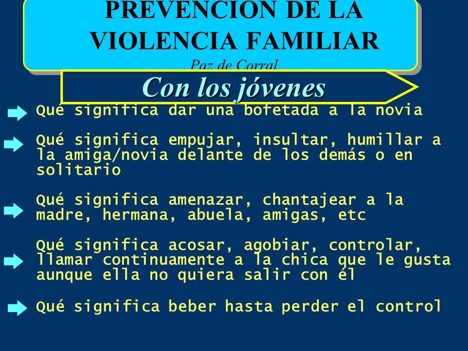 PREVENCIÓN DE LA VIOLENCIA FAMILIAR Paz de Corral Con los jóvenes Qué significa dar una bofetada a la novia Qué significa empujar, insultar, humillar