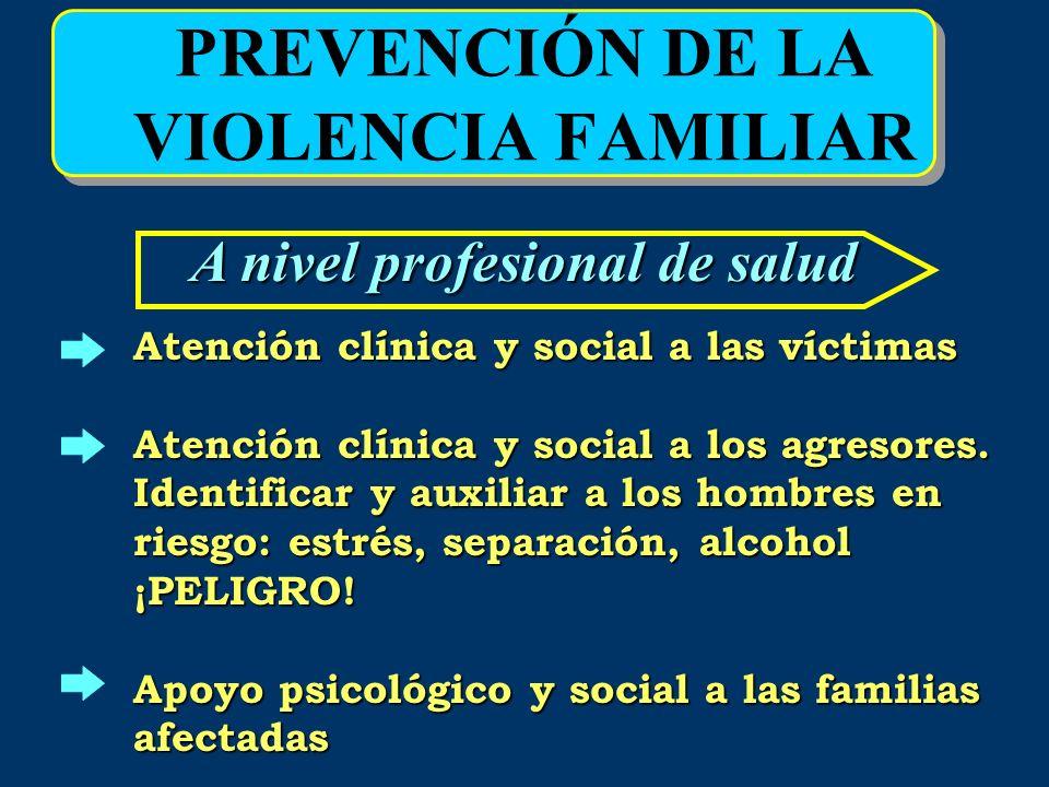 PREVENCIÓN DE LA VIOLENCIA FAMILIAR A nivel profesional de salud Atención clínica y social a las víctimas Atención clínica y social a los agresores. I