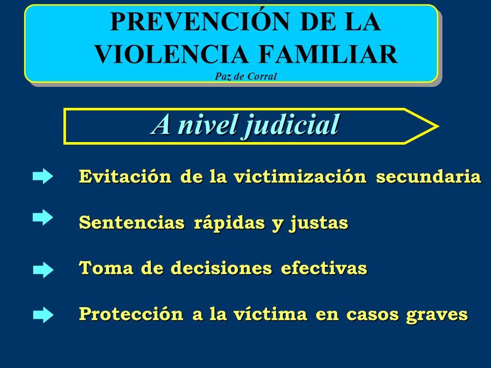 PREVENCIÓN DE LA VIOLENCIA FAMILIAR Paz de Corral A nivel judicial Evitación de la victimización secundaria Sentencias rápidas y justas Toma de decisi