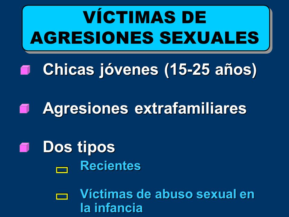 Chicas jóvenes (15-25 años) Agresiones extrafamiliares Agresiones extrafamiliares Dos tipos Recientes Víctimas de abuso sexual en la infancia VÍCTIMAS