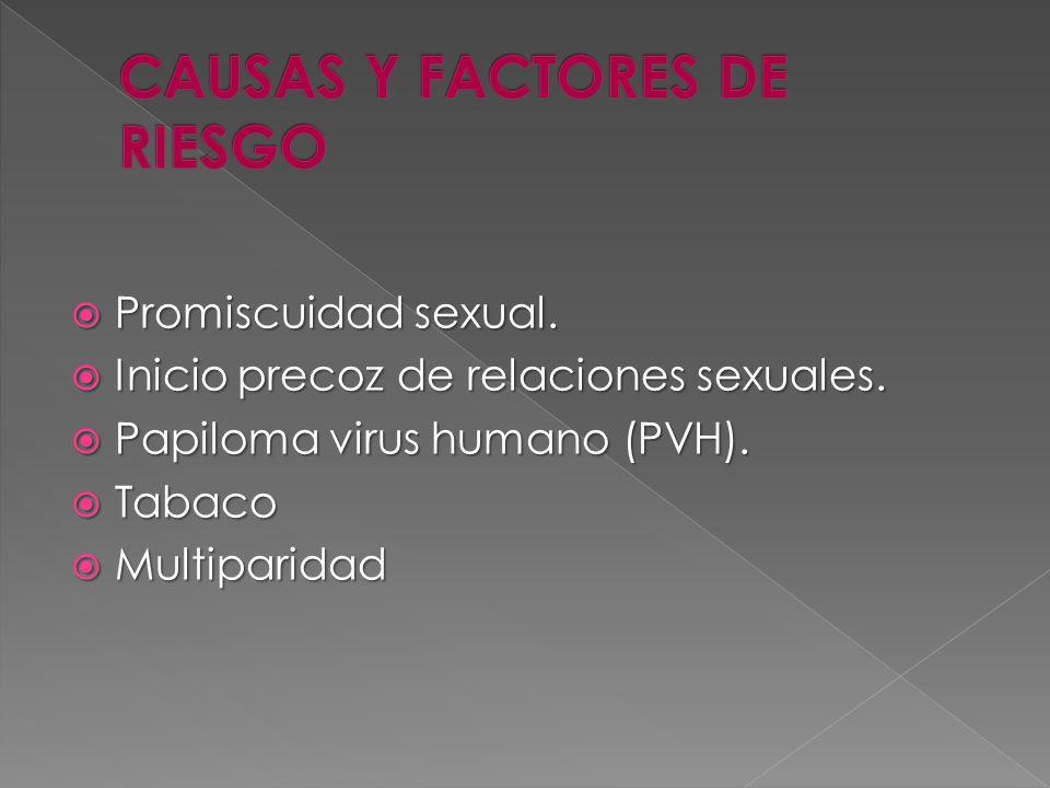 Promiscuidad sexual. Promiscuidad sexual. Inicio precoz de relaciones sexuales. Inicio precoz de relaciones sexuales. Papiloma virus humano (PVH). Pap