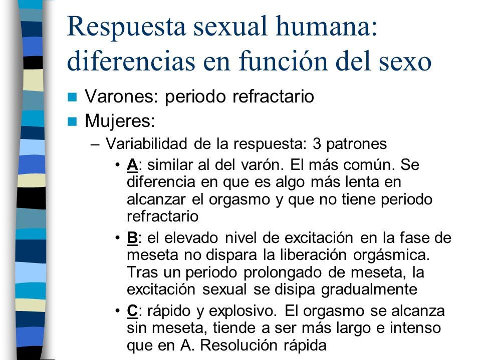 Respuesta sexual humana: diferencias en función del sexo Varones: periodo refractario Mujeres: –Variabilidad de la respuesta: 3 patrones A: similar al