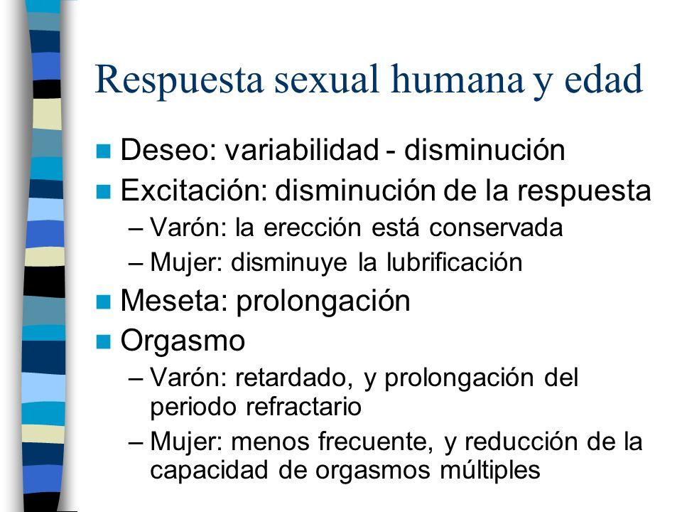 Respuesta sexual humana y edad Deseo: variabilidad - disminución Excitación: disminución de la respuesta –Varón: la erección está conservada –Mujer: d