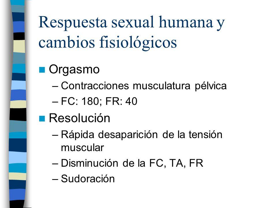 Respuesta sexual humana y cambios fisiológicos Orgasmo –Contracciones musculatura pélvica –FC: 180; FR: 40 Resolución –Rápida desaparición de la tensi