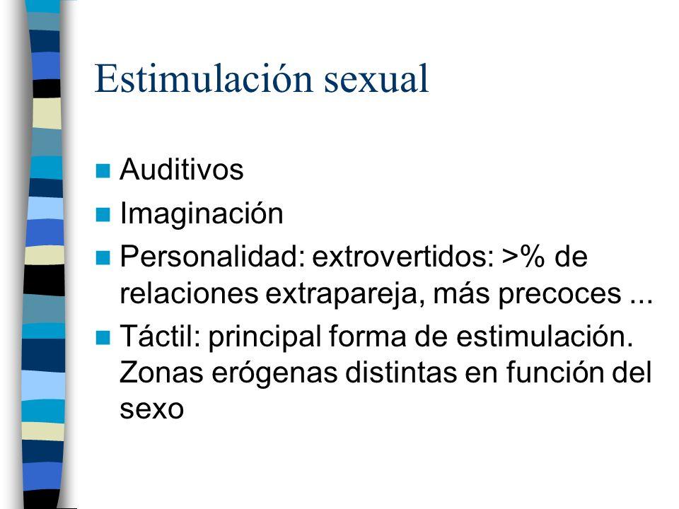 Estimulación sexual Auditivos Imaginación Personalidad: extrovertidos: >% de relaciones extrapareja, más precoces... Táctil: principal forma de estimu