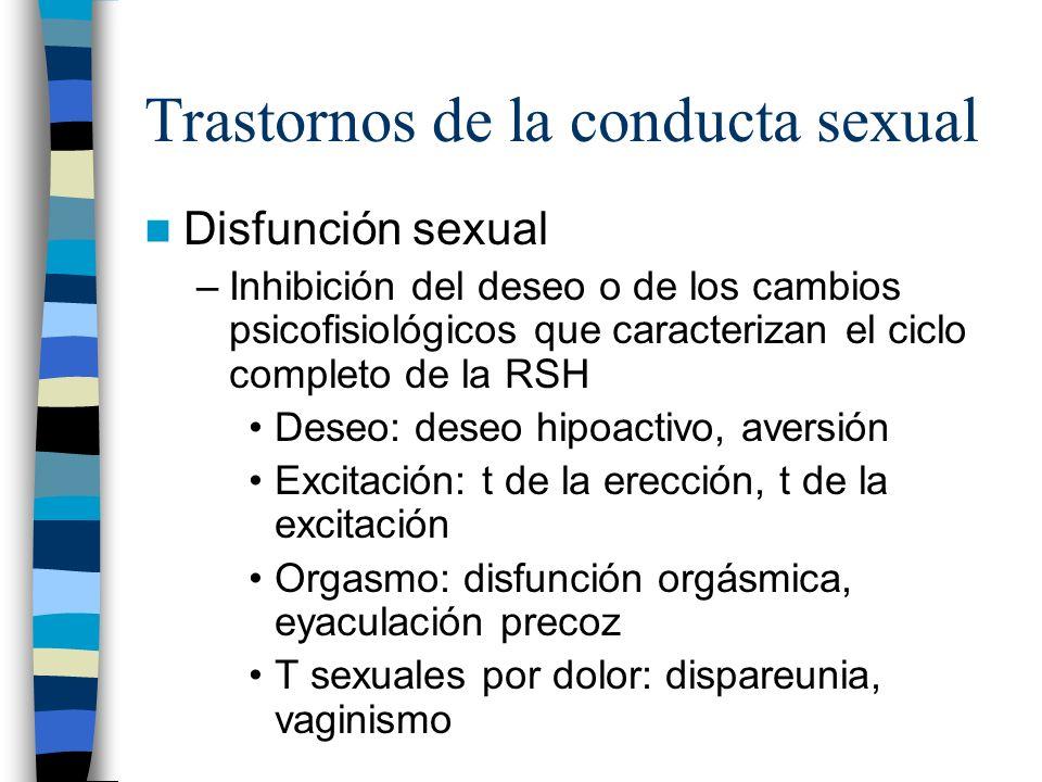 Trastornos de la conducta sexual Disfunción sexual –Inhibición del deseo o de los cambios psicofisiológicos que caracterizan el ciclo completo de la R