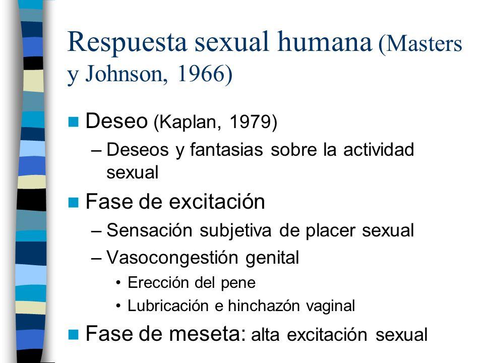 Respuesta sexual humana (Masters y Johnson, 1966) Deseo (Kaplan, 1979) –Deseos y fantasias sobre la actividad sexual Fase de excitación –Sensación sub