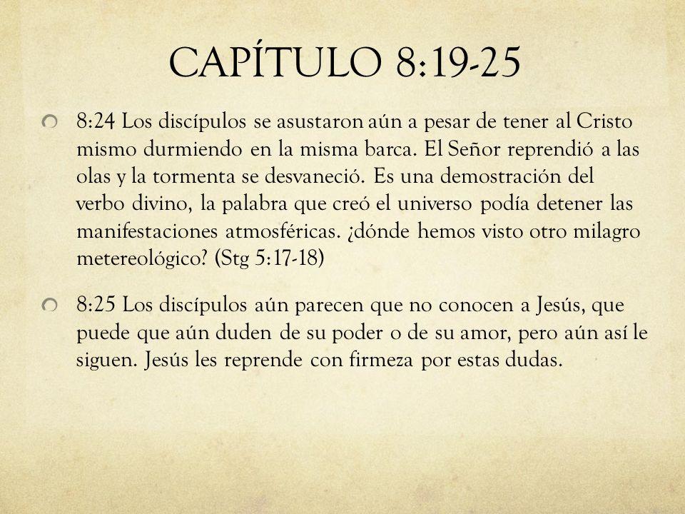 8:24 Los discípulos se asustaron aún a pesar de tener al Cristo mismo durmiendo en la misma barca. El Señor reprendió a las olas y la tormenta se desv