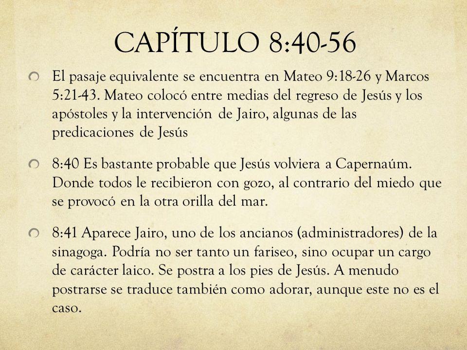 El pasaje equivalente se encuentra en Mateo 9:18-26 y Marcos 5:21-43. Mateo colocó entre medias del regreso de Jesús y los apóstoles y la intervención