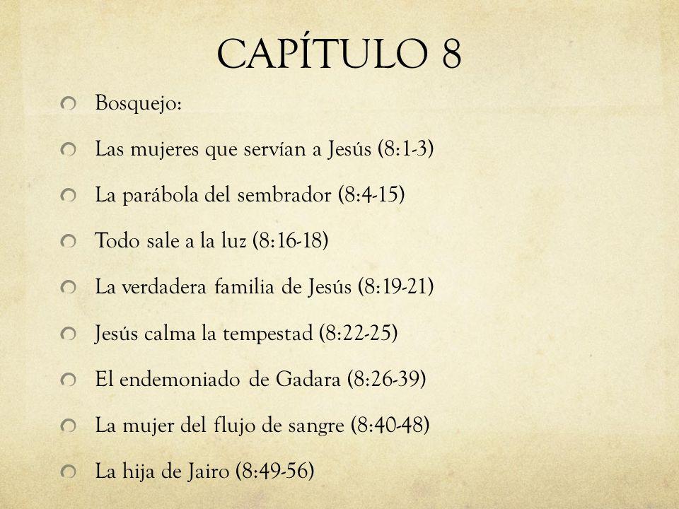 CAPÍTULO 8 Bosquejo: Las mujeres que servían a Jesús (8:1-3) La parábola del sembrador (8:4-15) Todo sale a la luz (8:16-18) La verdadera familia de J