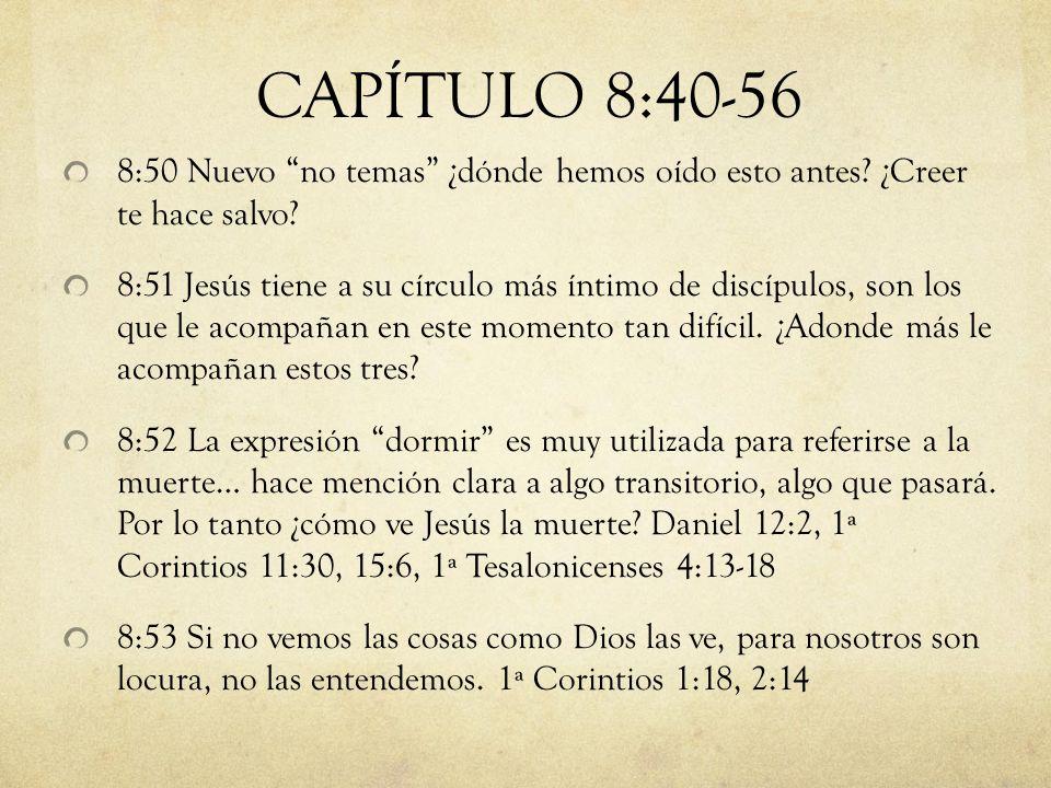 8:50 Nuevo no temas ¿dónde hemos oído esto antes? ¿Creer te hace salvo? 8:51 Jesús tiene a su círculo más íntimo de discípulos, son los que le acompañ