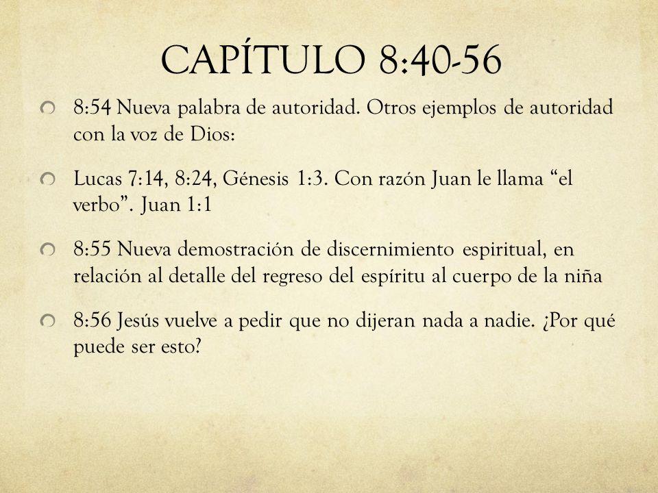 8:54 Nueva palabra de autoridad. Otros ejemplos de autoridad con la voz de Dios: Lucas 7:14, 8:24, Génesis 1:3. Con razón Juan le llama el verbo. Juan