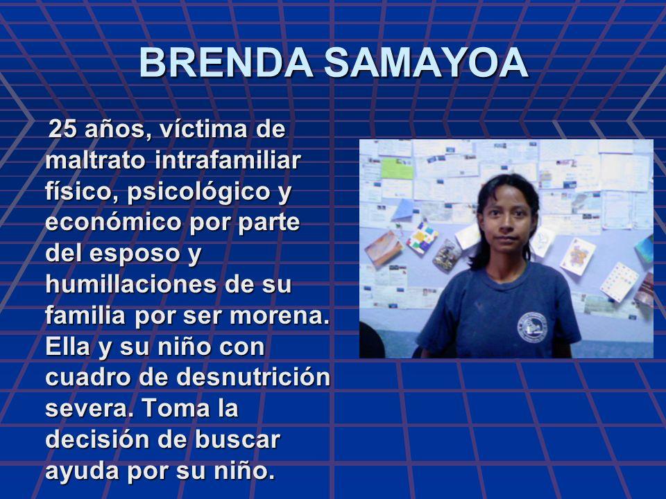 BRENDA SAMAYOA 25 años, víctima de maltrato intrafamiliar físico, psicológico y económico por parte del esposo y humillaciones de su familia por ser m