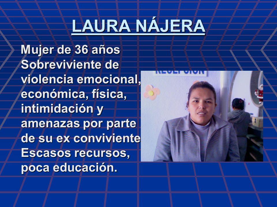 LAURA NÁJERA Mujer de 36 años Sobreviviente de violencia emocional, económica, física, intimidación y amenazas por parte de su ex conviviente Escasos