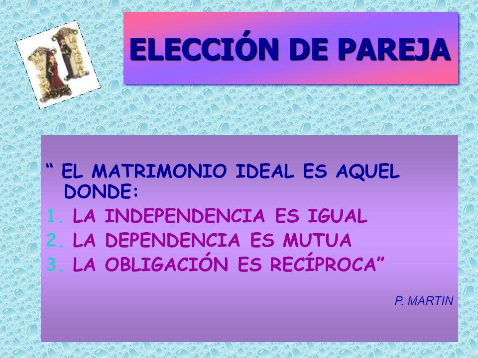 ELECCIÓN DE PAREJA EL MATRIMONIO IDEAL ES AQUEL DONDE: 1.