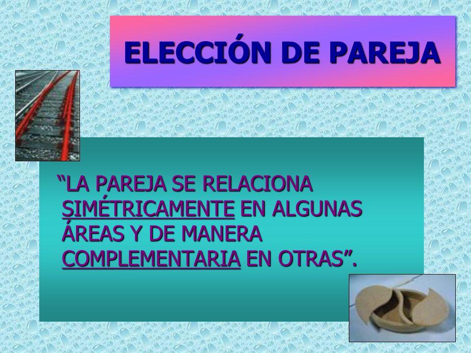 ELECCIÓN DE PAREJA ELECCIÓN DE PAREJA LA PAREJA SE RELACIONA SIMÉTRICAMENTE EN ALGUNAS ÁREAS Y DE MANERA COMPLEMENTARIA EN OTRAS.