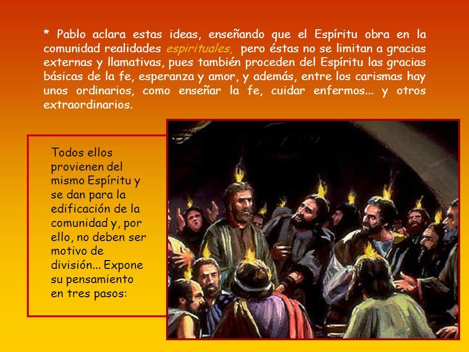* En Corinto tienen una visión falsa de lo carismático, confundiéndolo con fenómenos extáticos naturales, como se daban en los cultos báquicos y dioni