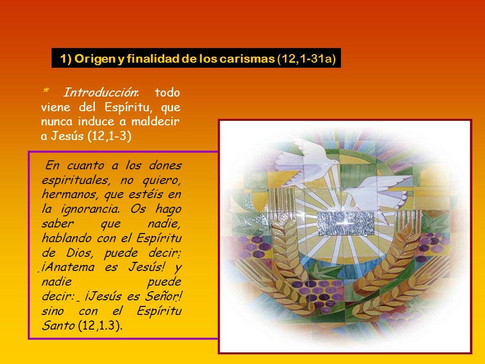 * Pablo aclara estas ideas, enseñando que el Espíritu obra en la comunidad realidades espirituales, pero éstas no se limitan a gracias externas y llam