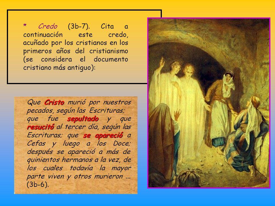 * Introducción: * Introducción: recuerda lo que el recibió y transmitió, como doctrina básica cristiana (1-3a): Os recuerdo, hermanos, el Evangelio qu