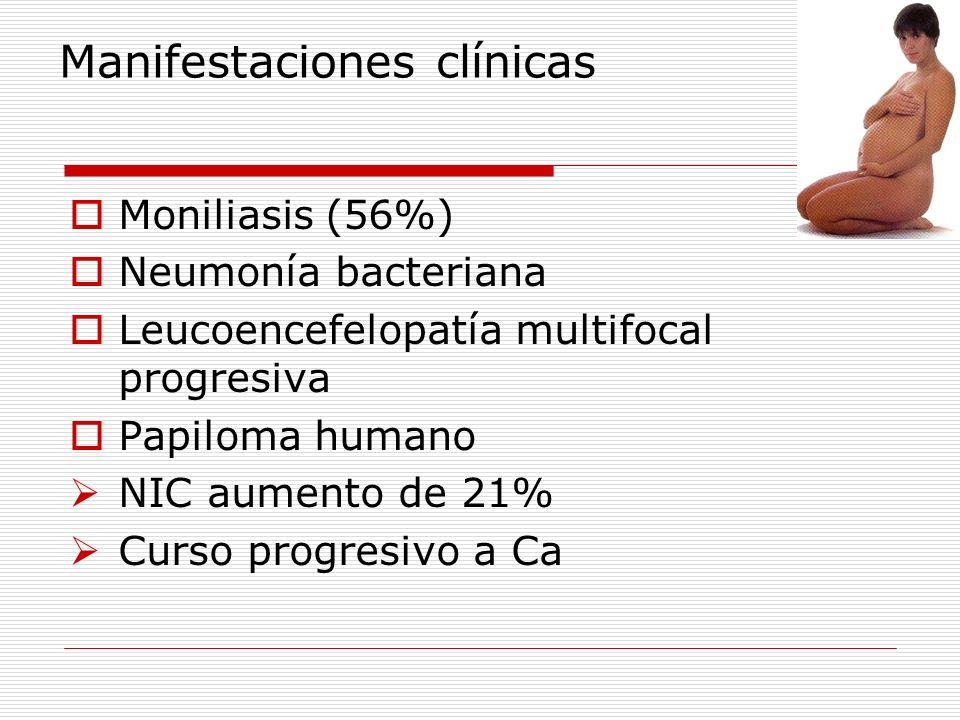 Manifestaciones clínicas Moniliasis (56%) Neumonía bacteriana Leucoencefelopatía multifocal progresiva Papiloma humano NIC aumento de 21% Curso progre